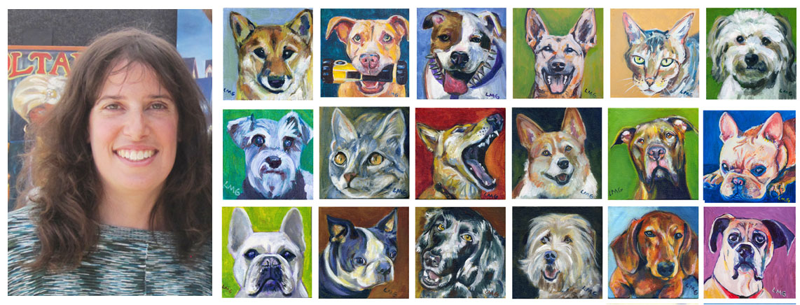 photo of artist Lisa Goldfarb and 18 of her paintings of dogs and cats