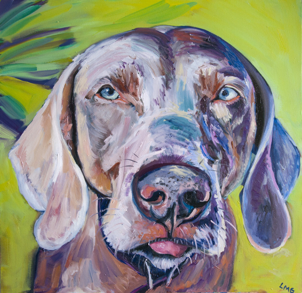 Oil Portrait of Gracie Baldassari, Weimaraner