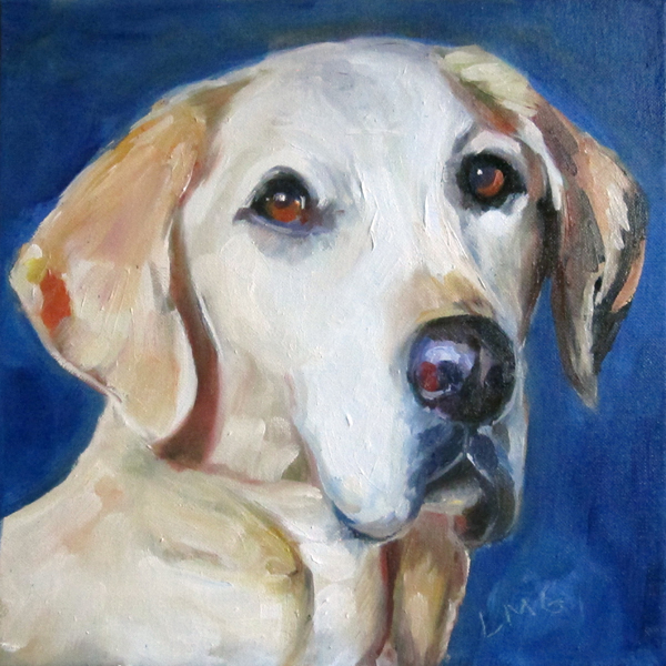 oil portrait of Giotto Baldessari, Labrador Retriever
