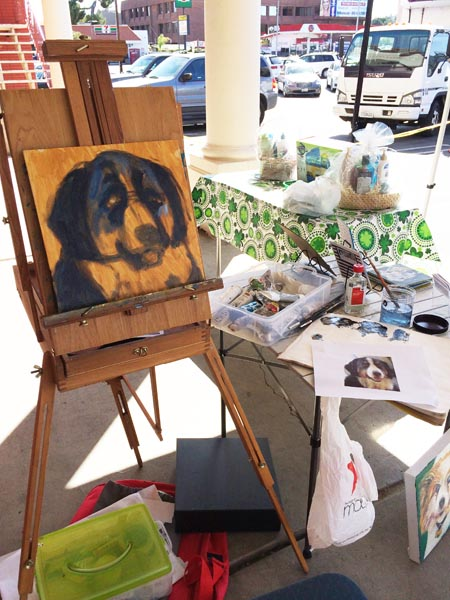 Process of painting a Bernese Mountain dog take 1