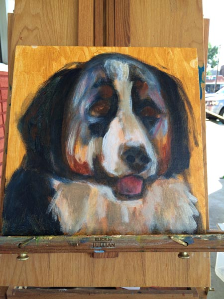 Process of painting a Bernese Mountain dog take 2