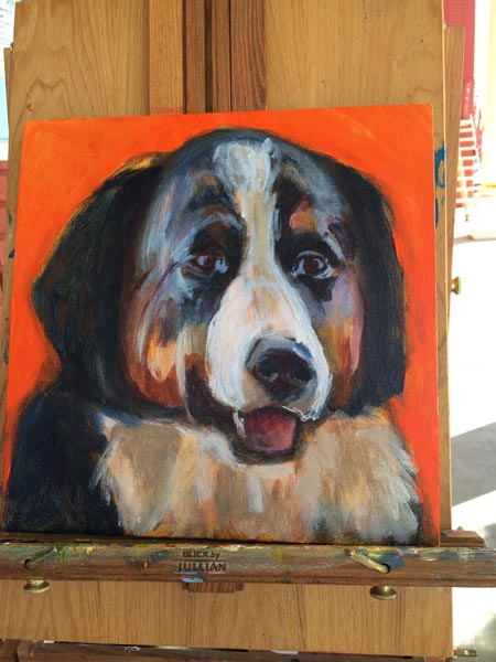 Process of painting a Bernese Mountain dog take 3