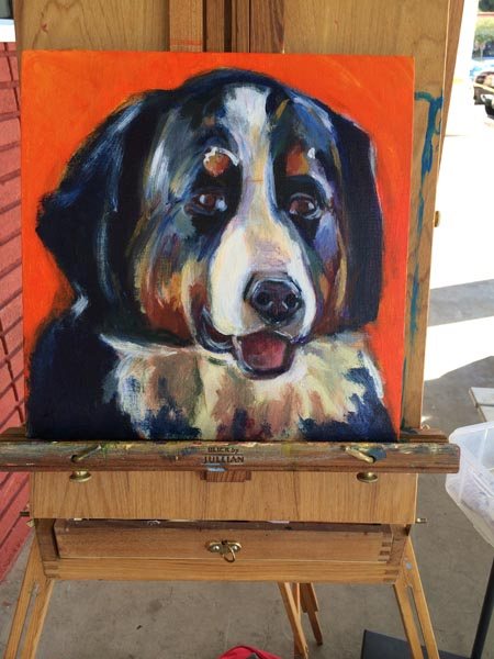 Process of painting a Bernese Mountain dog take 4