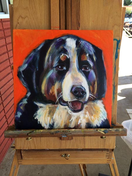 Process of painting a Bernese Mountain dog take 5