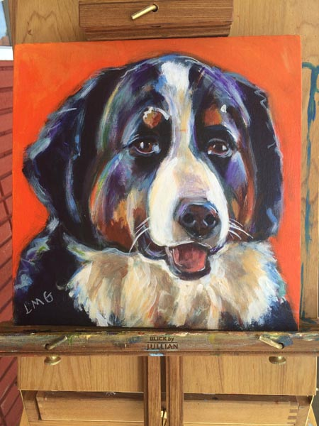 Process of painting a Bernese Mountain dog take 6-finished!