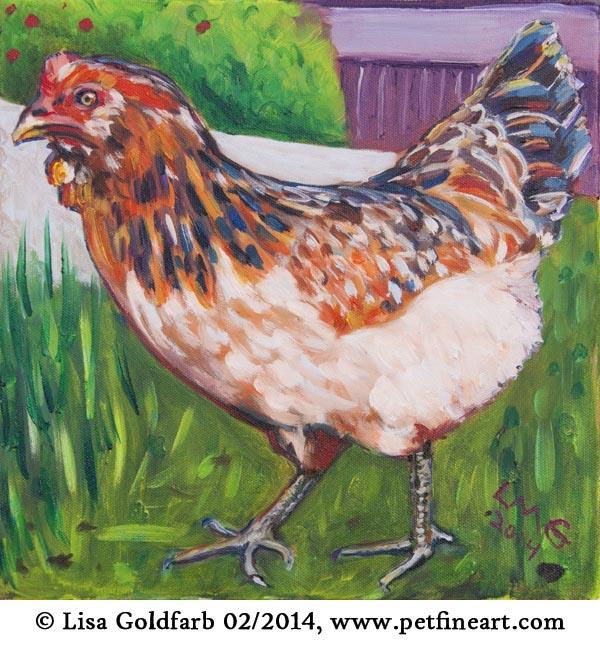 oil portrait of Blanch, the happy hen