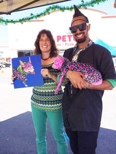 Lisa paints Chico at Petco