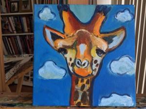small giraffe painting for topanga canyon studio tour auction