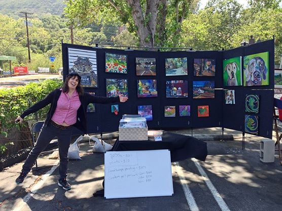 Lisa Goldfarb set up with her paintings at the 2014 Topanga Canyon Studio Tour