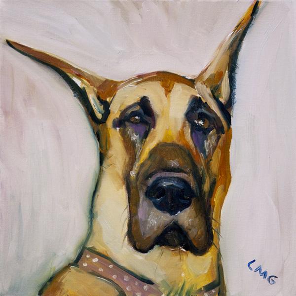 Portrait of Roxy, the Great Dane, oil on canvas
