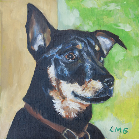 custom dog painting of Lucy